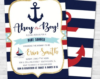 Ahoy It's a Boy Baby Shower Invitation - Nautical, Anchor - Red & Navy Blue
