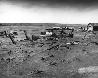 Buried machinery in a barn lot; South Dakota, May 1936, Dust Bowl