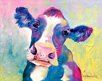 ACEO Cow Art Print from Original Oil Painting