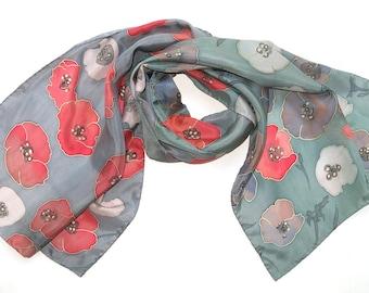 Poppy silk scarf. Red poppies Flowers Hand painted silk scarf, painted red blue gray scarf Handpainted silk scarf. READY to SHIP