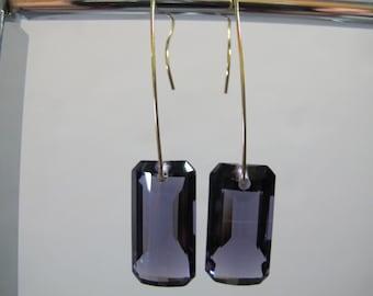 Emerald Cut Amethyst Earrings