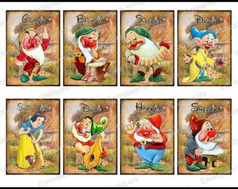 8 Vintage Grunge Snow White 7 Dwarfs Collage Sheet ATC ACEO / Retro Children Digital Collage Sheet Tags Images—Printable Ephemera