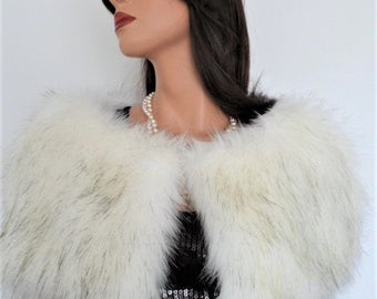 white fur capelet, bridal white fur, fake fur stole, wrap, shrug, shawl