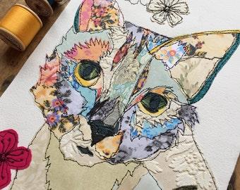Colourful cat- Stitched Original art-