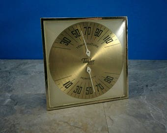 Vintage Gold Taylor Temperature and Humidity Box - 1960s Indoor Weather Station