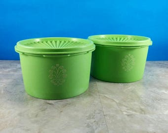 Vintage 1970's Apple Green Tupperware Canisters with Lids - Nice Tight Lids - 4 Piece Set