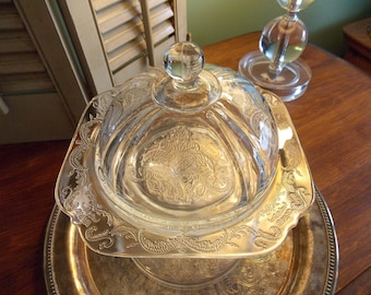 "BUTTER DISH with Dome Cover, Clear Depression Glass ""Madrid Pattern"" Serving Ware"