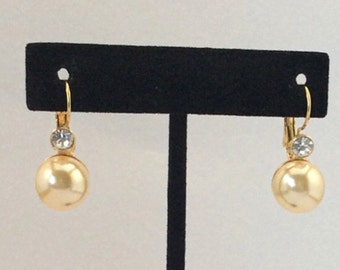 Faux Pearl and Rhinestone Drop Earrings