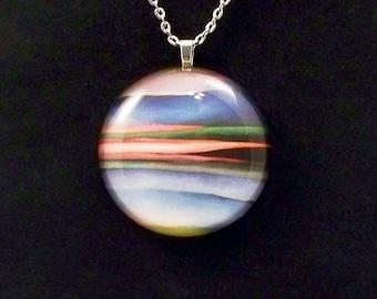 Georgia O'Keefe Stripes of Color Round Glass Pendant Necklace