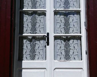 Pair Very Old Cotton Lace Curtains French Vintage Panel Cream Filet Fringing