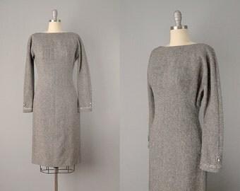 60s Dress // 1960's Mr. Mort Grey Wool Tweed Dress w/ Rhinestone Cuffs // S - M