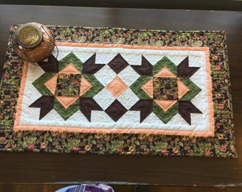 Brown, Peach, Green and Cream Table Topper