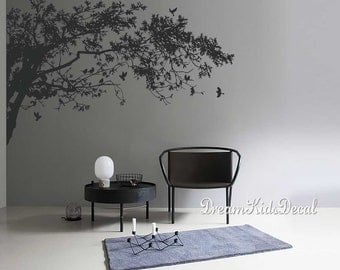Wall Decals, Tree branches wall mural-Top Corner Tree Decal for Nursery Wall art with Birds-DK248