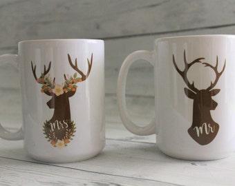 His and Hers mug set, coffee mug, custom cup, coffee cup, Deer, His, Hers, couple mug set