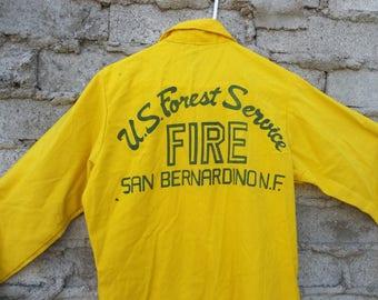 Vintage Shirt Fireman US Forest Service 1970s 60s Midcentury Mad Men San Bernardino National Park  Large Memorabilia Department Agriculture