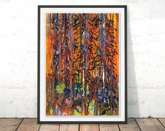 Woodland Art Print Forest Painting Orange Painting Orange Art Print Sunset Sunrise Office Wall Decor Orange Wall Art Giclee Print