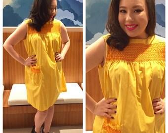 Vintage 1960's Yellow Smocked Sundress