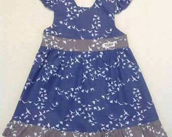Organic Baby Dress,Top layer dress,birds print