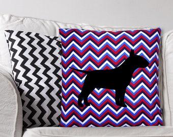 Bull Terrier Dog Pillow, Handmade Dog Cushion, Bulterier Pillow, Chevron Throw Pillow, dog home decor, Dog breed Decorative Pillow Bully Mom