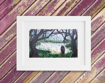 Woodland Fantasy Painting - Original Small Watercolor Painting - Mystic Landscape - 9 x 5