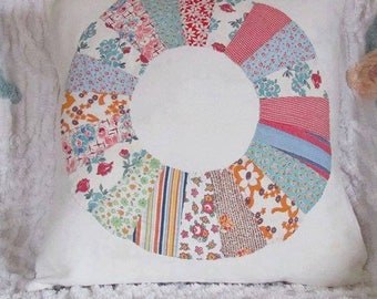 HANDMADE vintage feed sack quilt square pillow