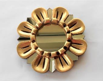 """6"""", Wall Mirror, Decorative Wall Mirror, Round Mirror, Gold Mirror, Small Wall Mirror, Gold Leaf Mirror, Decorative Mirrors, Flower Mirror"""