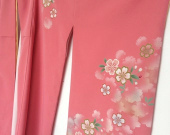 Vintage Kimono robe pink blossom floral larger size stunning sleeves - wedding day robe