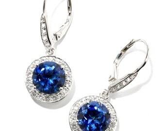"Sterling Silver 5.4ctw Blue & White Topaz Dangle Earrings 1""L"