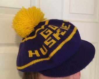 Vintage Washington Huskies Knit Winter Ski Hat Pom Pom Cap/University of Washington Vintage Hat