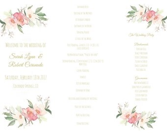 Gold Wedding Programs / Tri Fold Wedding Program