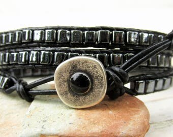 Hematite Cube Triple Leather Wrap Bracelet ~ Hematite Bracelet ~ Black Wrap Bracelet ~ 3 Times Around Wrap Bracelet ~ Hipster Hippie Boho