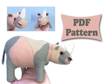 Felt Rhino, Rhino Pattern, Felt Patterns, Felt Doll Pattern,Felt Animal Patterns,Soft Felt Toy Pattern,Felt Toy Patterns,PDF sewing patterns