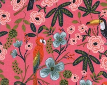 Paradise Gardens in Coral- Cotton/Rayon Lawn  -Menagerie -Anna Rifle Bond for Cotton + Steel