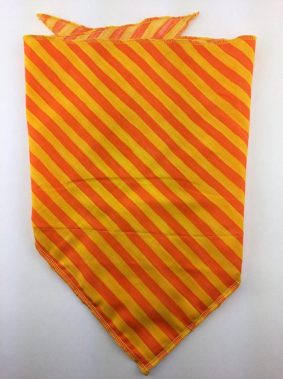 Orange Candy Stripes: Cotton Stash pocket bandana w/ Bright Orange & Yellow Diagonal Stripe Print