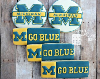 University of Michigan Logo Decorated Sugar Cookies - Sports Theme / Graduation / Birthday Party