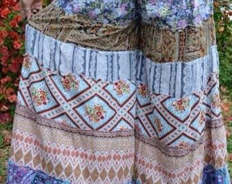 Handmade Patchy Floral Hippie Boho Sweetheart Beach Dance Wide Leg Pants