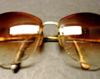 VTG Oversized half lense tinted Designer eyeglasses.