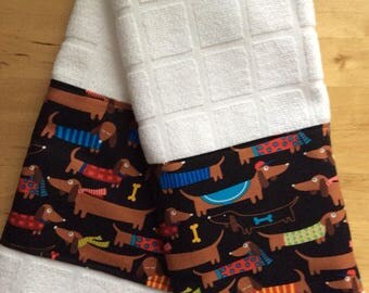 Dachshund kitchen towels, dog towels, kitchen towels, dachshund fabric, bar towels
