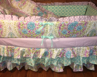 TODAY ONLY SALE***Lilac and Aqua paisley crib bedding set