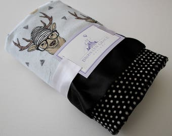Hipster Deer with Powder Blue Background and Black and or White Minky Baby Blanket, Black Satin Trim - Boy, Crib Bedding, Antlers, Lodge
