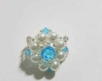 Rhombus Flower Ivory and Light Blue Ring