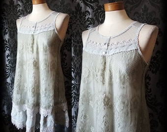 Gothic Delicate Grey Lace Button Detail REPOSE Tea Dress 8 10 Victorian Romantic