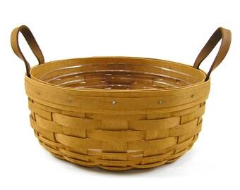 Vintage 1994 Longaberger Basket Leather Handles with Plastic Liner