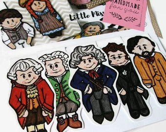Music Teacher Gift, Magnetic Bookmarks of Classical Music Composers, Mozart, Beethoven, Bach, Schubert, and Debussy, Music Lover Gift