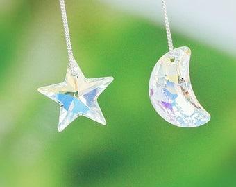 E090 Asymmetrical Crystal Swarovski Moon Star Pentagram Rhinestone Long Chains Hook Dangle Drop Pierced Earrings in 925 Sterling Silver