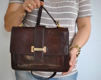 Vintage MESSENGER LEATHER BAG , women's leather bag..............(571)
