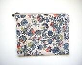 Zipper flat pouch, Money wallet, Kimono fabric, Beige pouch, Travel organizer, Passport wallet, Small zipper pouch, Mini purse, Phone case
