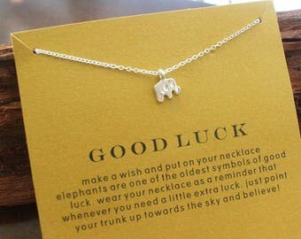 Good Luck necklace with silver-plated elephant as a gift