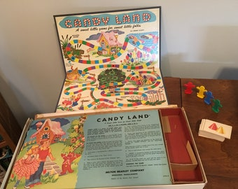 Vintage 1962 Milton Bradley Candy Land Board Game - Missing a few cards - Box shows wear and tear