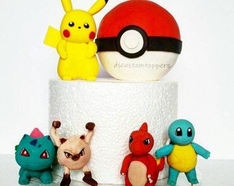 Pokemon cake kit.  Pikachu. Charmander. Squirtle. Bulbasaur. Pokeball